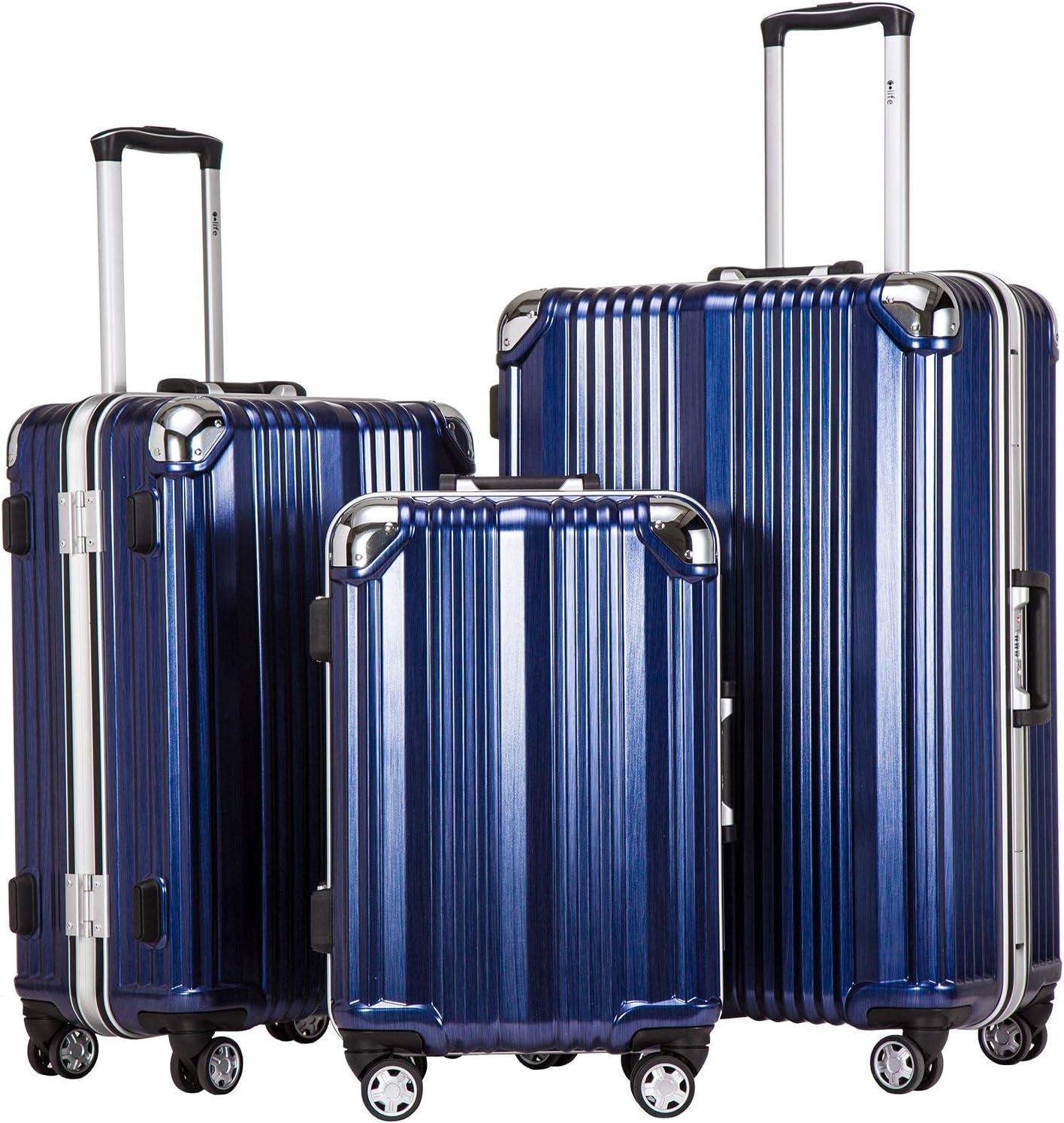 Coolife Luggage Aluminium Frame Suitcase 3 Piece Set with TSA Lock 100 PC BLUE