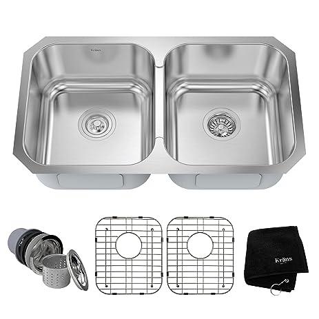 kraus kbu29 32 inch undermount 50 50 double bowl 18 gauge stainless steel kitchen sink kraus kbu29 32 inch undermount 50 50 double bowl 18 gauge      rh   amazon com