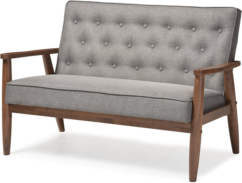 Baxton Studio Sorrento Mid-Century Modern Loveseat $169  Coupon