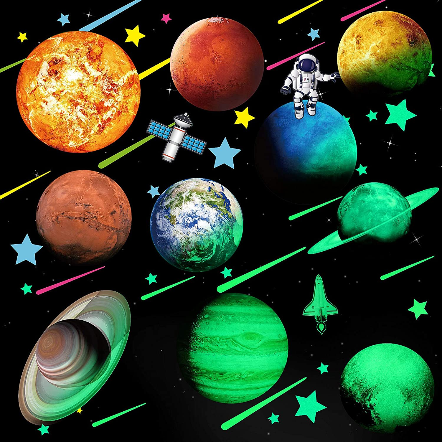 Glowing Stars and Planets, Bright Solar System Wall Stickers, Glow in The Dark Ceiling Decals Eight Planets Neptune Pluto Rocket Astronaut Moon Meteor Star Wall Decals for Bedroom Living Room