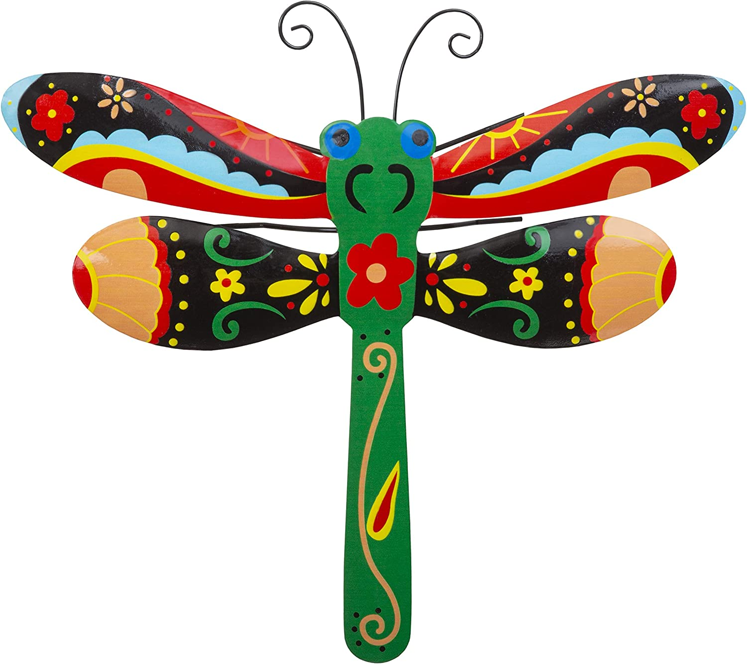 Whimsical Dragonfly Metal Wall Art | Talavera-Style Home Decor | Stylish Wall Decorations for Living Room, Kitchen, Outdoors, Office, Bedroom, Garden, Bathroom | 13x12 Inches (Dragonfly)