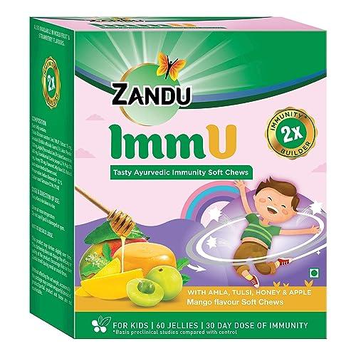 Zandu ImmU Tasty Ayurvedic Immunity Soft Chews, Mango Flavour - 60 Soft Chews (Jellies)
