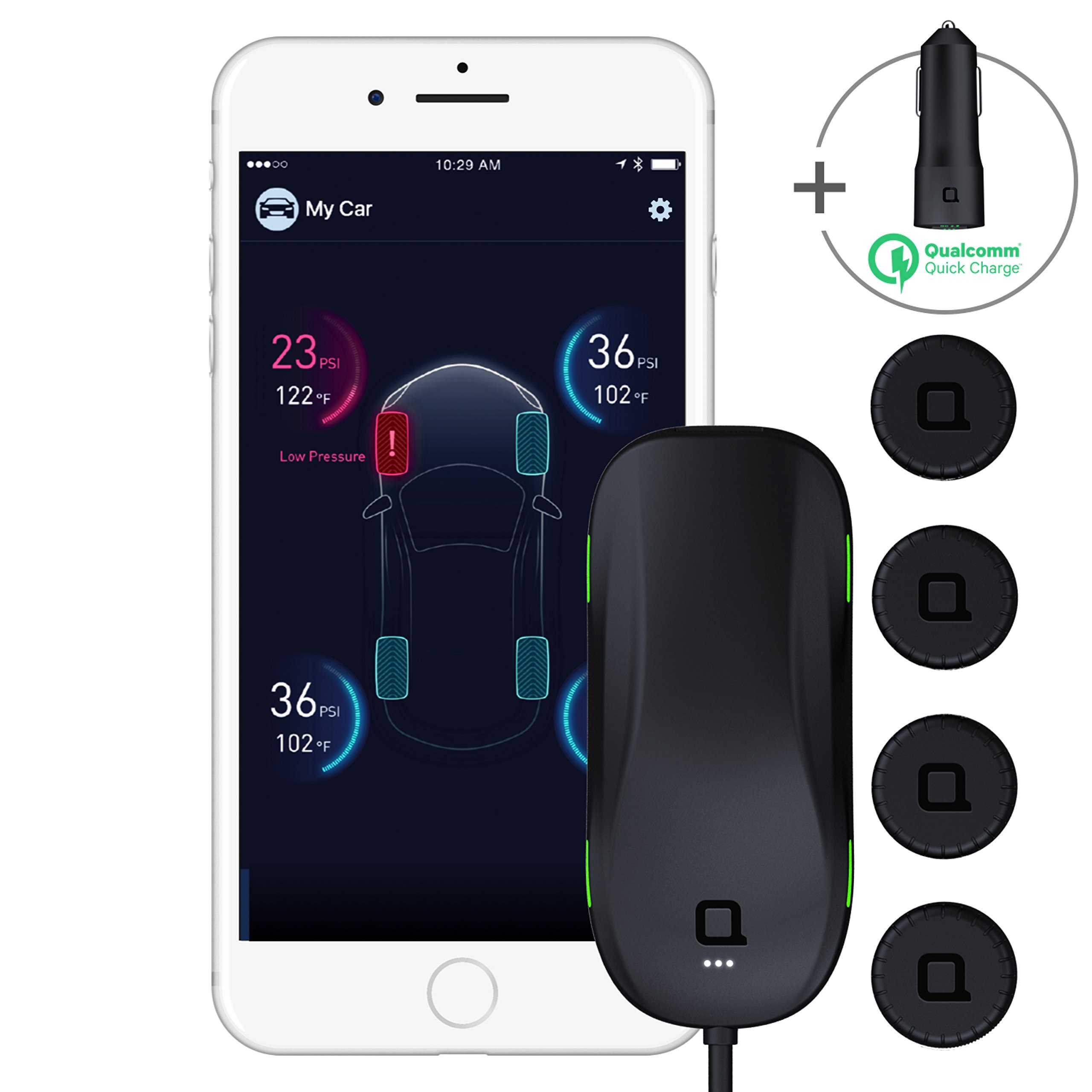 nonda ZUS Smart Tire Safety Monitor & Smart Car Charger Bundle, World's First Slow Leak Detection with AccurateTemp Technology, Real-Time Tire Pressure & Tempe Data, App Enabled TPMS & Car Charger