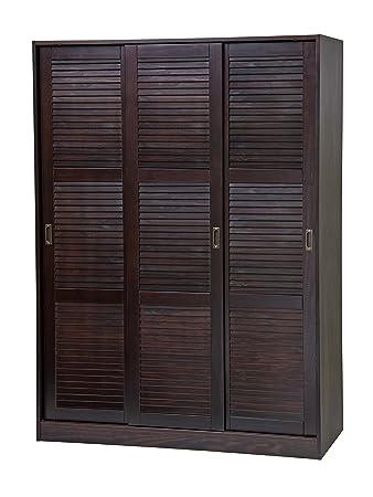 100% Solid Wood 3 Sliding Door Wardrobe/Armoire/Closet/Mudroom Storage