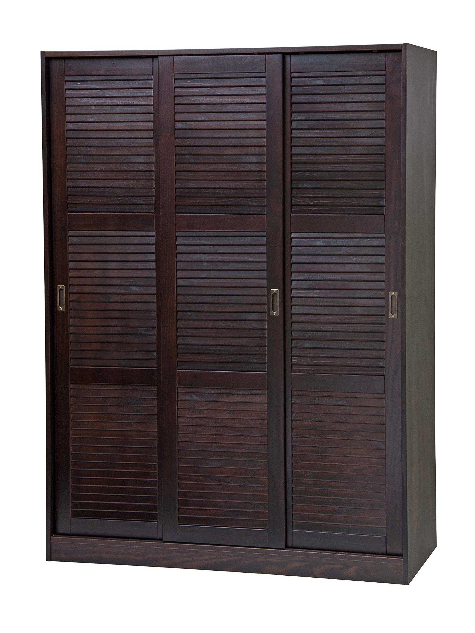 100% Solid Wood 3-Sliding Door Wardrobe/Armoire/Closet/Mudroom Storage by Palace Imports 5676 Java, 52''w x 72''h x 22.5''d. 1 Large/4 Small Shelves, 1 Rod Included. Extra Shelves Sold Separately