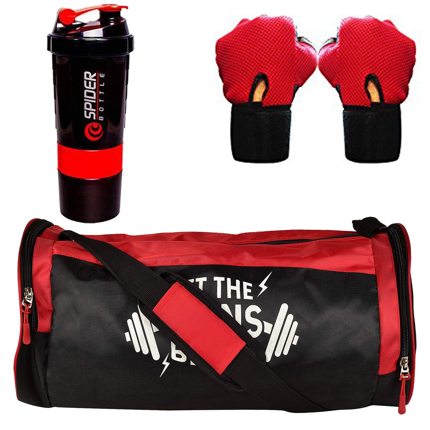 5 O' CLOCK SPORTS Combo of Polyester Red Gains Bag Gym/Fitness Kit/Combo/Gym Accessories for Men and Women product image