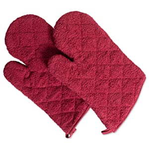 DII 100% Cotton, Terry Oven Mitts 7 x 13, Heat Resistant, Machine Washable for for Everyday Kitchen Basic, Set of 2, Barn Red, Ovenmitt, 2 Piece