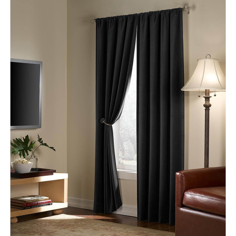 40 inch x 84 inch 5535-RED Light Blocking Thermal Insulated Noise Reducing Energy Saving Window Curtain Maytex Velvet Room Darkening Red