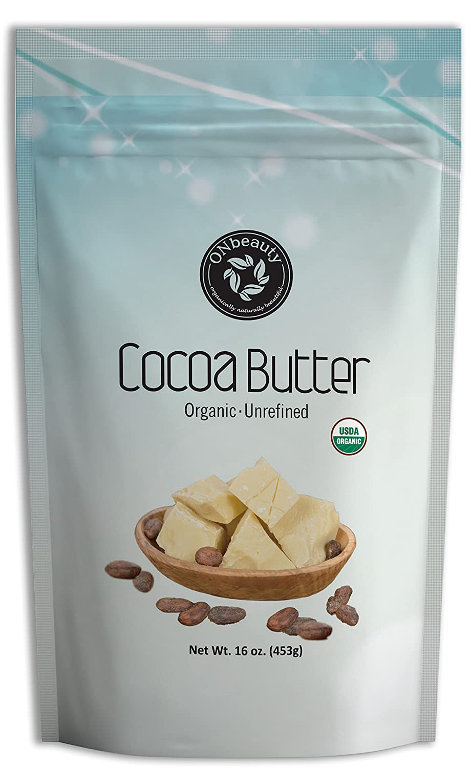 USDA Certified Organic Unrefined Cocoa Butter by ONbeauty - 16 Oz, FOOD GRADE - Raw ON Beauty