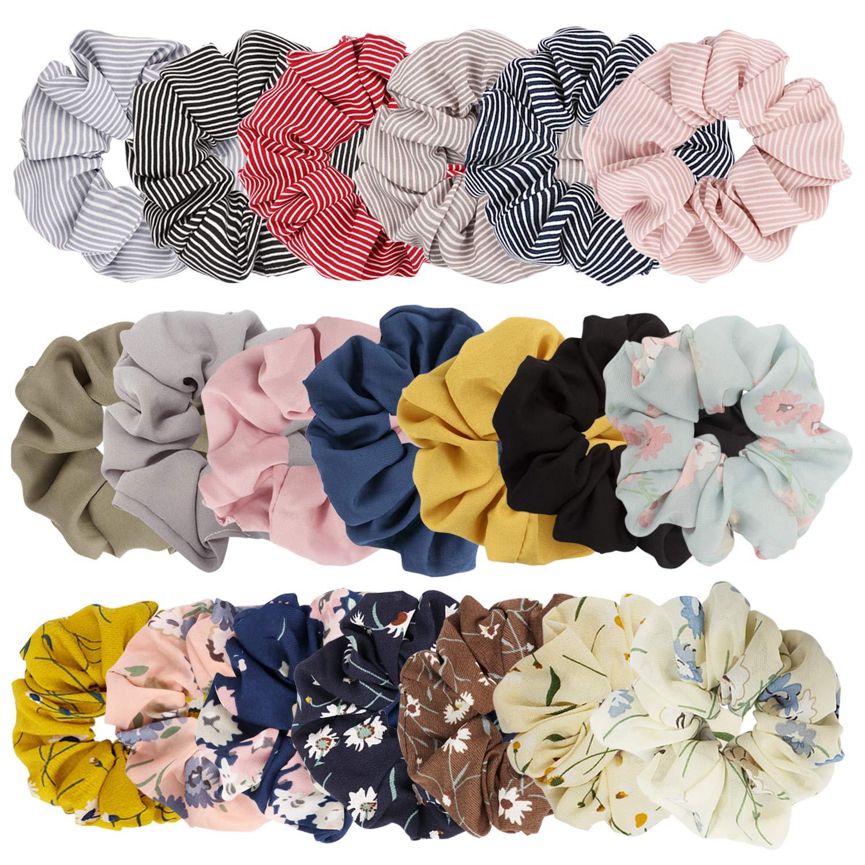 Jaciya 10 Pack Scrunchies for Hair, Cute Scrunchies Women Hair Scrunchies  Chiffon Flowers Elastic Hair Bands Scrunchy Hair Ties Ropes Scrunchie Hair