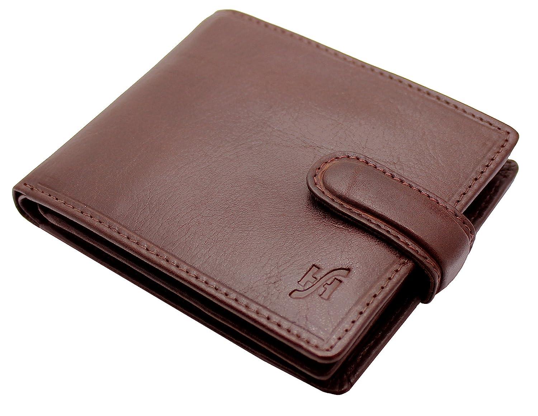 STARHIDE Mens RFID Blocking VT Leather Wallet Credit Card and Coin Holder 825 (Black)