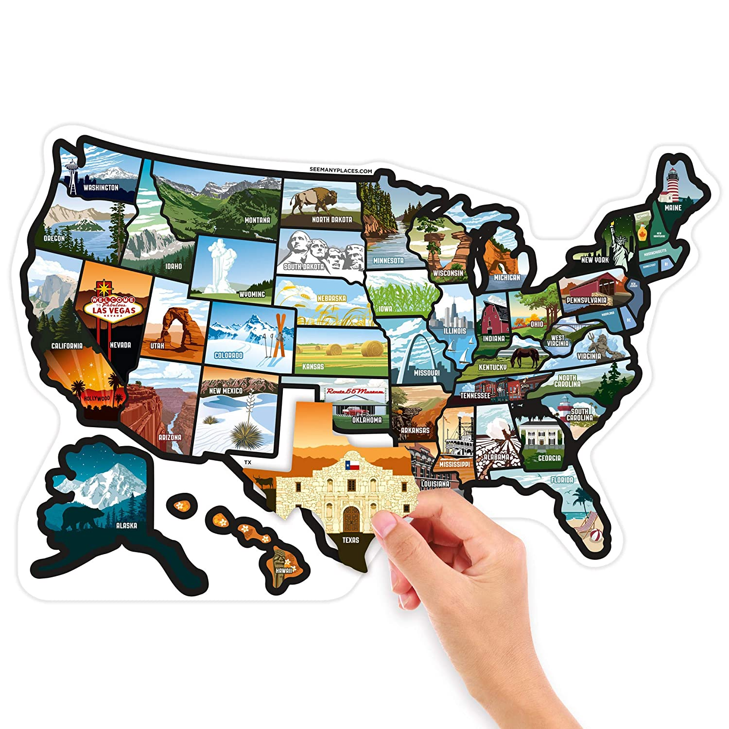 See many places com rv state stickers united states travel camper map rv decals for window door or wall includes 50 state decal stickers with scenic