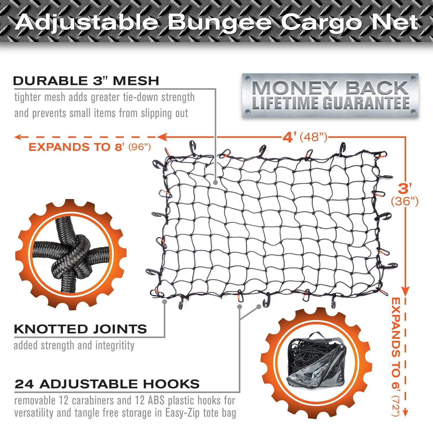 12 ABS Hooks 3x4 Super Duty Bungee Cargo Net Stretches to 6x8 for Oversized Rooftop Cargo Rack /& Small Trucks Narrow 3x3 Grid Holds Small /& Large Loads Tighter 12 Tangle-free 3 Carabiners