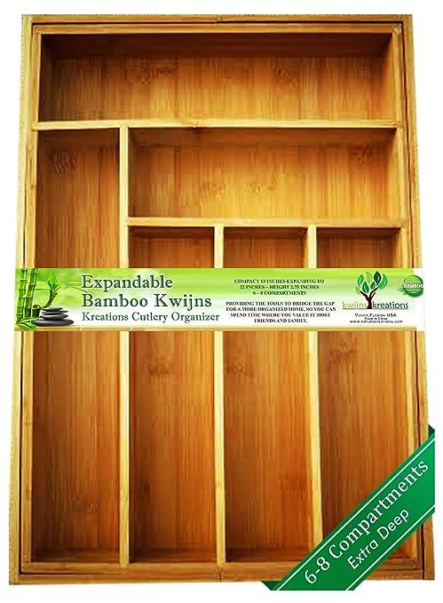 Amazon.com: Organizador de cajones de bambú ampliable y ...