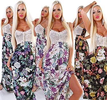 5495 Damen Maxikleid Sommerkleid Gesmokt Häkeltop Langes Kleid Geblümt .