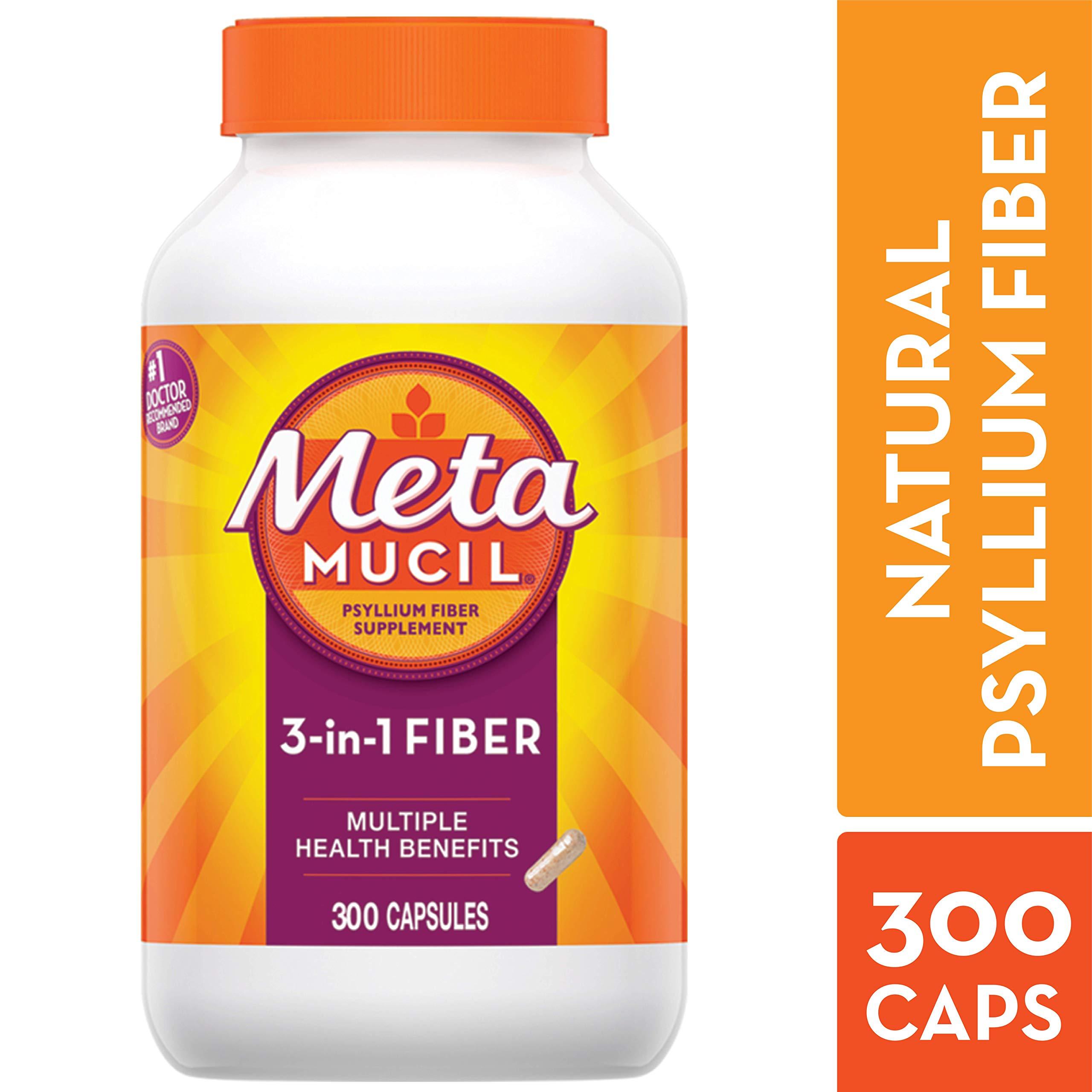 Metamucil Fiber, 3-in-1 Psyllium Capsule Fiber Supplement, 300 ct Capsules by Metamucil