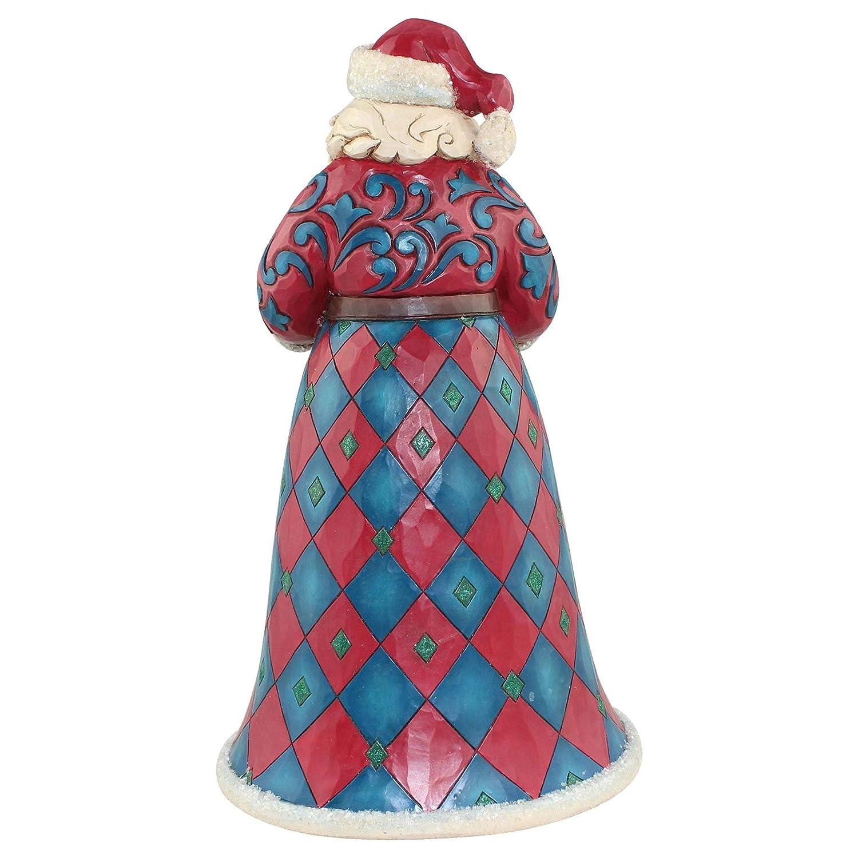 Enesco Jim Shore Heartwood Creek Winter Wonderland Santa with Wreath Stone Resin, 10 Figurine