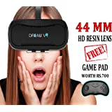 DREAM VR - Wireless Virtual Reality Headset - 44mm HD lens - FREE Bluetooth Controller Gamepad - 110 degree FOV - Adjustable IPD controller - Works with iOS & Android - fits smartphones of 4-6 inch - Inspired by Google Cardboard, Daydream, Oculus Rift