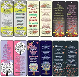 Floral Theme Memory Bible Verses Bookmarks (30-Pack)