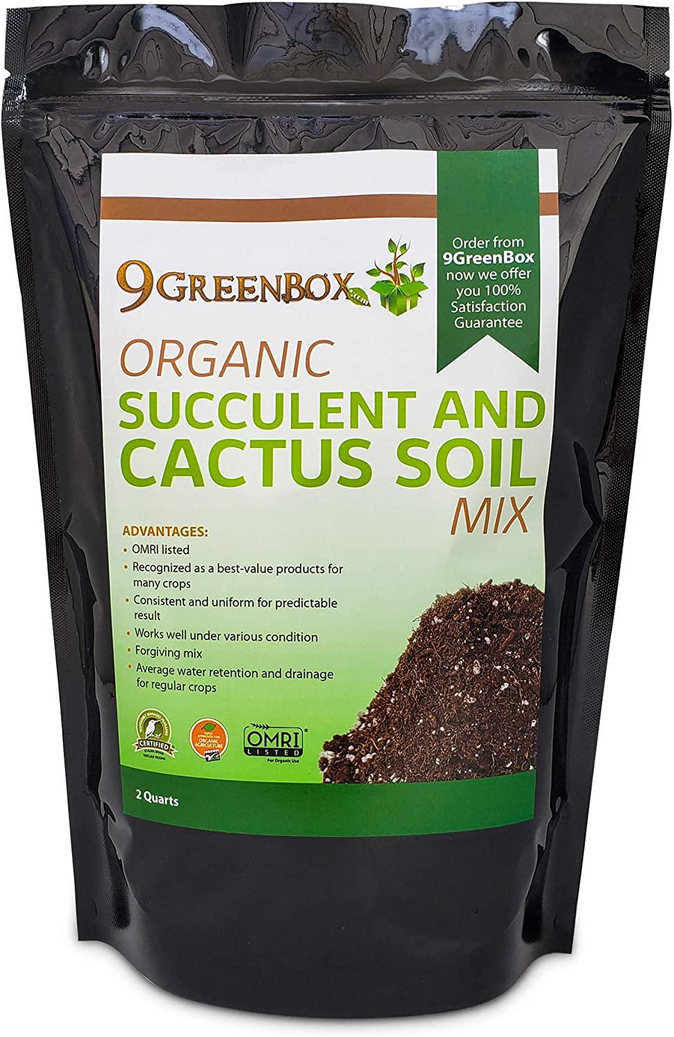 9Greenbox Organic Succulent and Cactus Soil Mix - OMRI Listed 100% Organic and All-Natural Gardening, Potting Blend - Well-Draining Substrate for Planting Indoor Plants, Herbs, Vegetables - 2-Quart