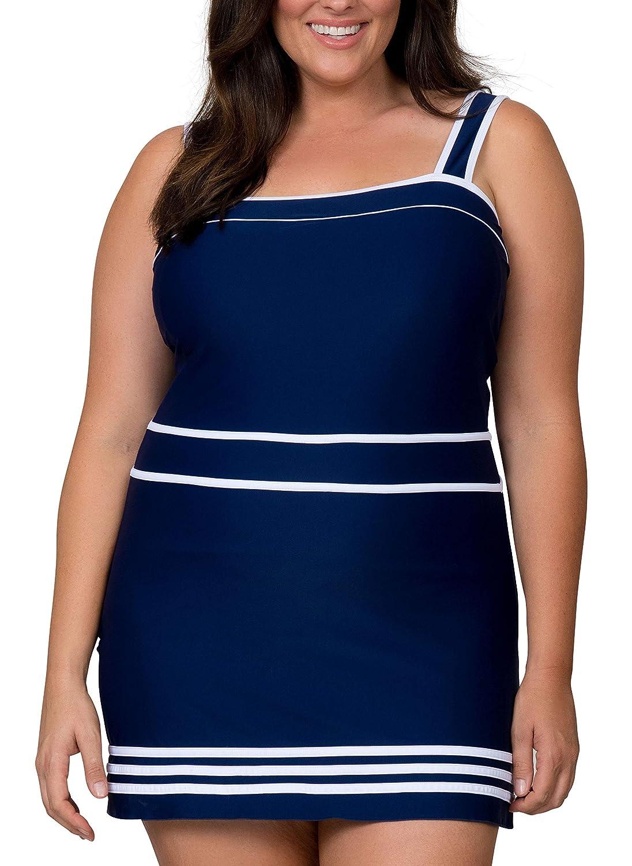 Caribbean Sand Plus Size Swimdress with Tummy Control Plus Size Swimwear Dress