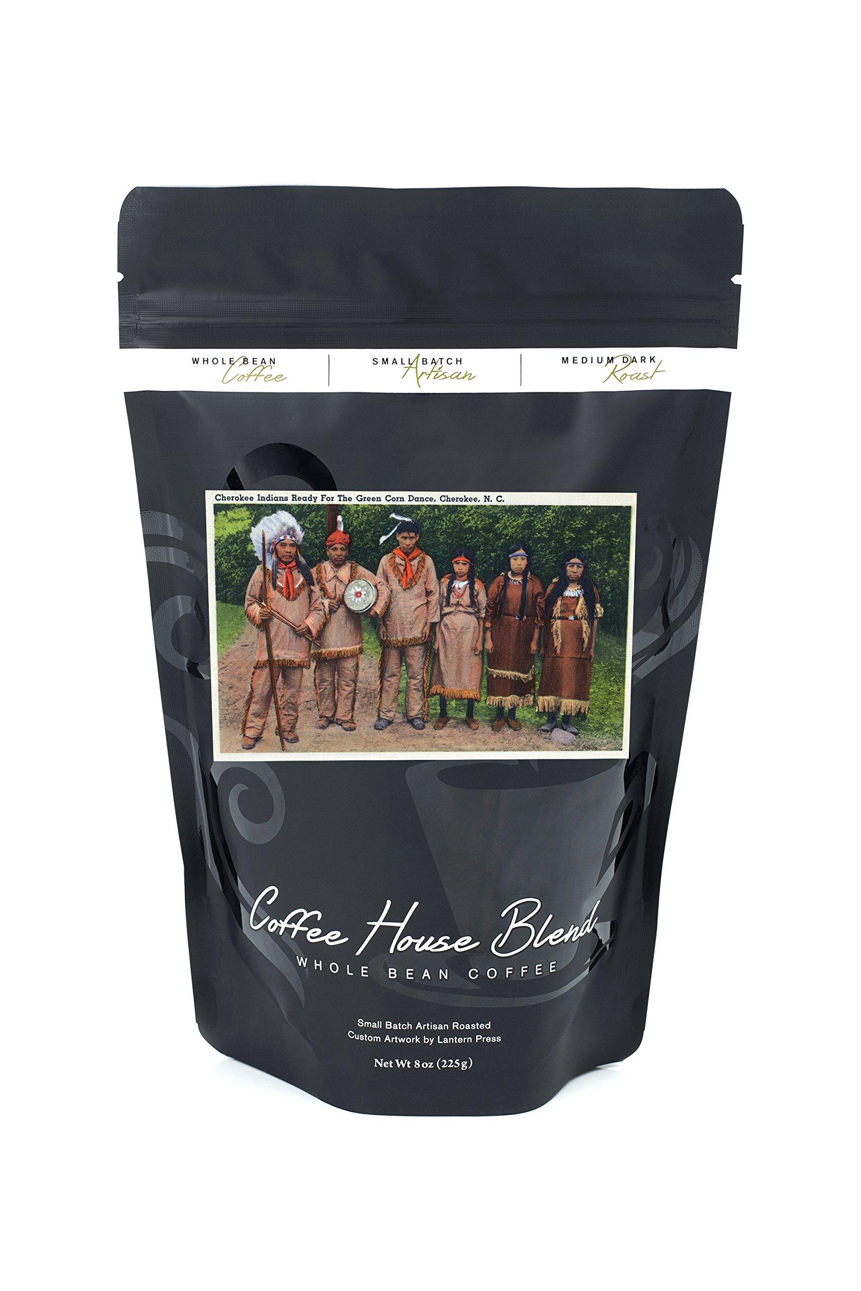 North Carolina - Cherokee Indians Ready for Green Corn Dance (8oz Whole Bean Small Batch Artisan Coffee - Bold & Strong Medium Dark Roast w/Artwork)