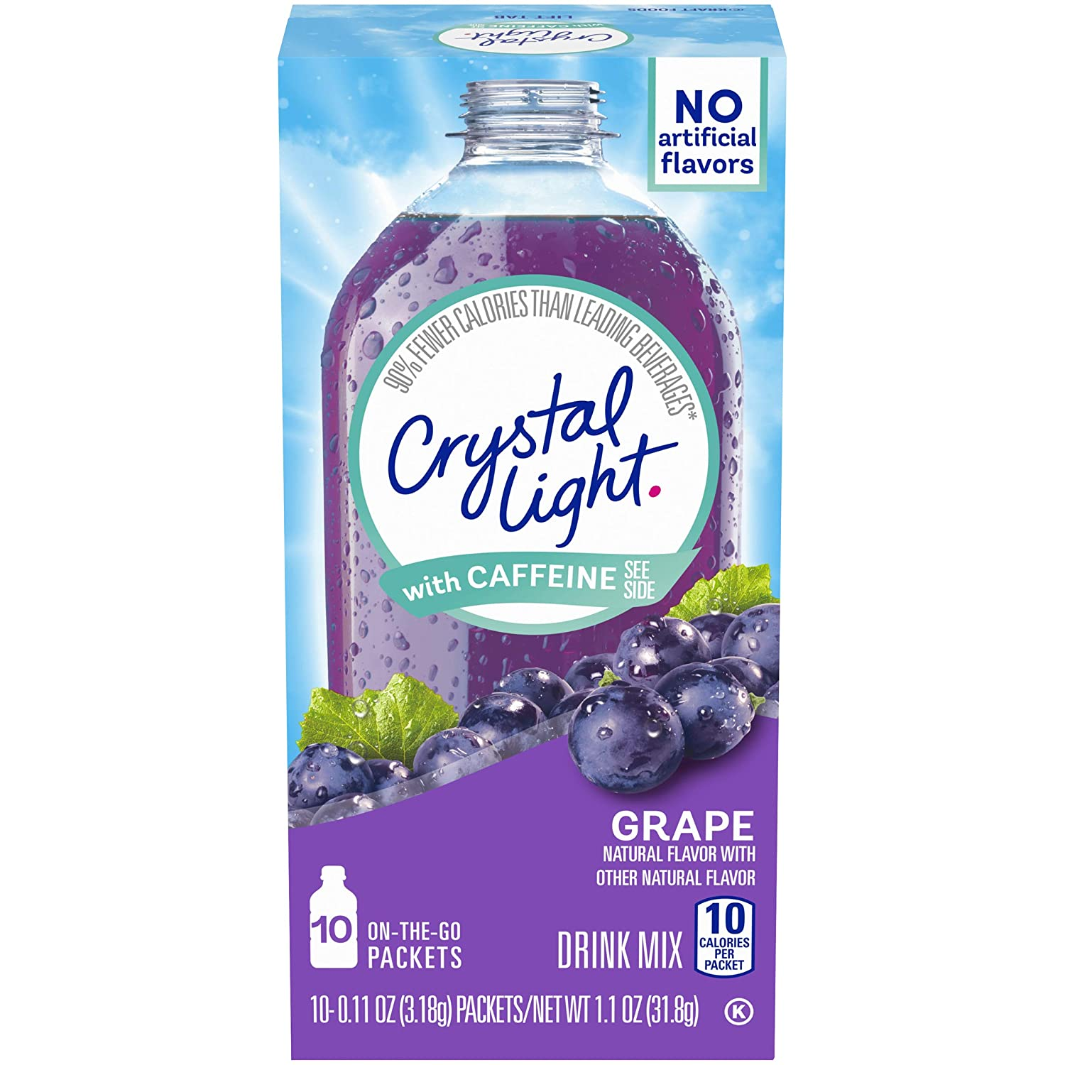Crystal Light On-The-Go Sugar-Free Grape Energy Drink Mix with Caffeine, 1.1 Oz,Pack of 12