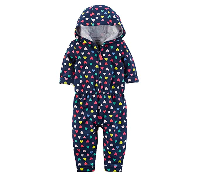 0ca303143013 Amazon.com  Carter s Baby Girls  Heart Print Hooded Jumpsuit  Clothing