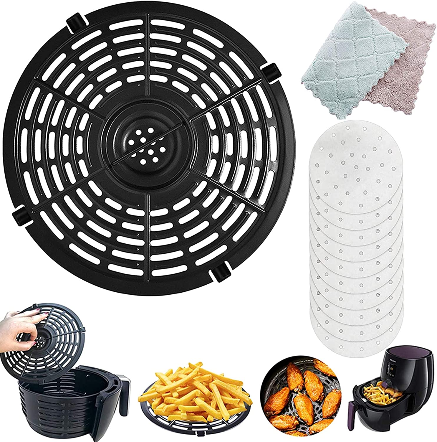 Air Fryer Replacement Grill Pan,Premium Non-Stick Round Crisper Plate for Make French Fries, Pizza, Chicken Wings and so on,Dishwasher Safe (Free cleaning cloth.Oil brush and filter paper) (166) 商品名称