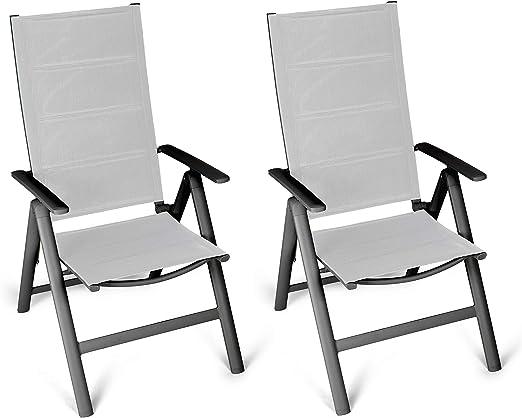 ALLUMINIO sedia da giardino set SCHIENALE ALTO SEDIA PIEGHEVOLE SEDIA SDRAIO sedia da campeggio mobili