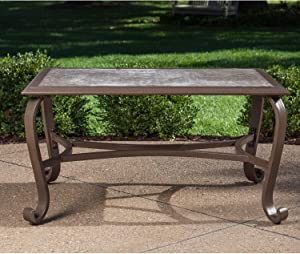 Hanover VENTURA1PC-TBL Ventura 35 in. x 25 in.Tile-Top Coffee Table, Brown