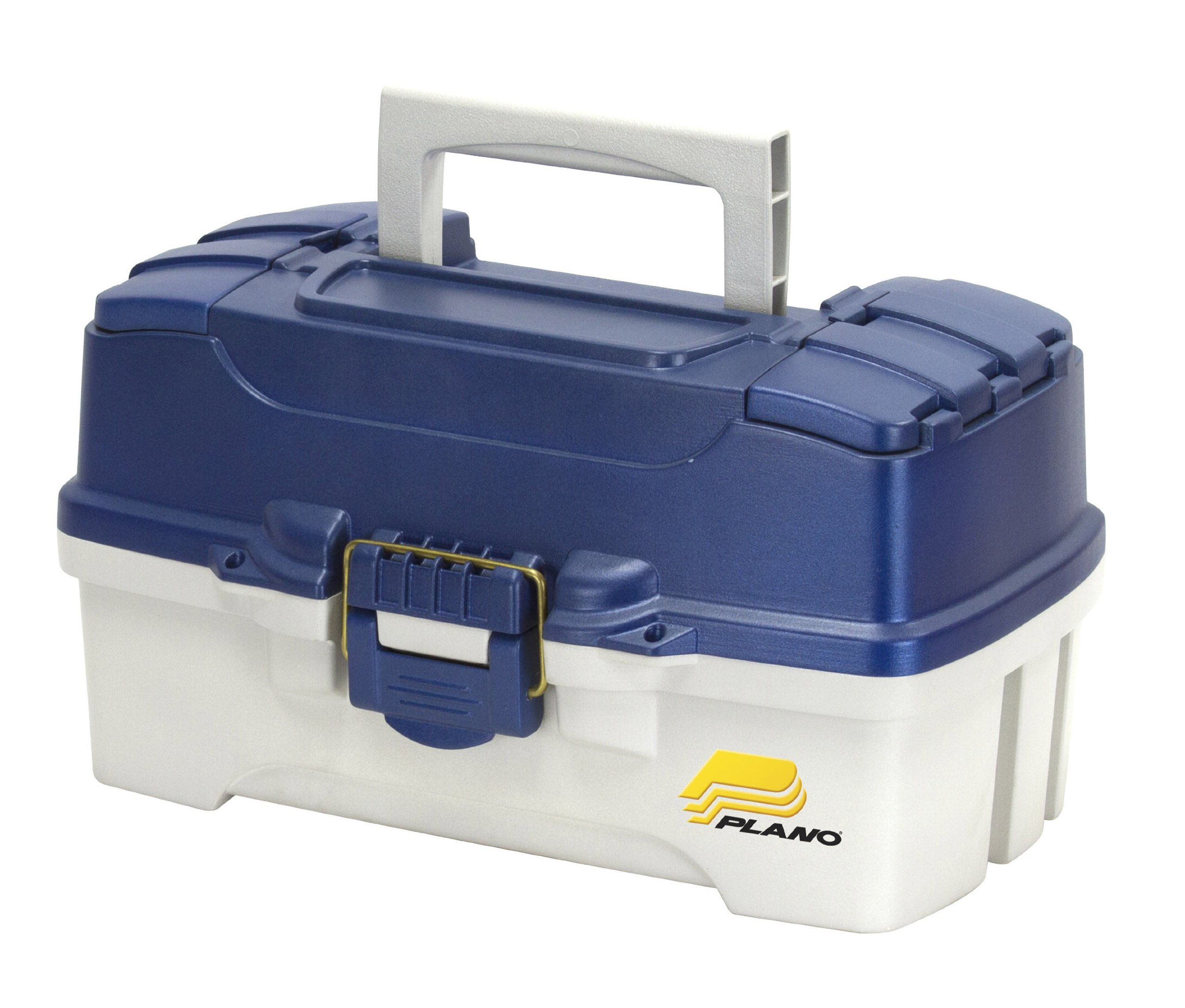 Plano 2-Tray Tackle Box with Dual Top Access, Blue Metallic/Off White, Premium Tackle Storage by Plano