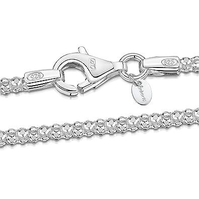 9c085571d8cc Amberta® Joyería - Collar - Fina Plata De Ley 925 - Cadena de Palomitas de