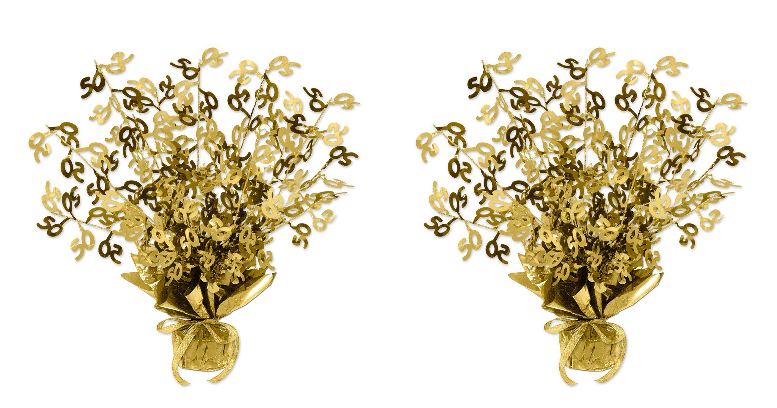 Beistle S54280-GDAZ2 50 Gleam 'N Burst Centerpiece 2 Piece, Gold by Beistle