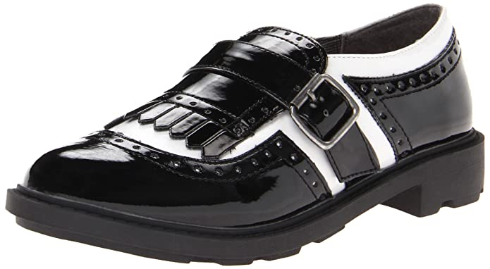 Retro Vintage Flats and Low Heel Shoes Rocket Dog Horace Black and White Patent Oxford Womens Flat $39.99 AT vintagedancer.com