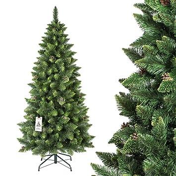 fairytrees rbol de navidad artificial slim pino natural verde material pvc las pi - Arbol Navidad Artificial