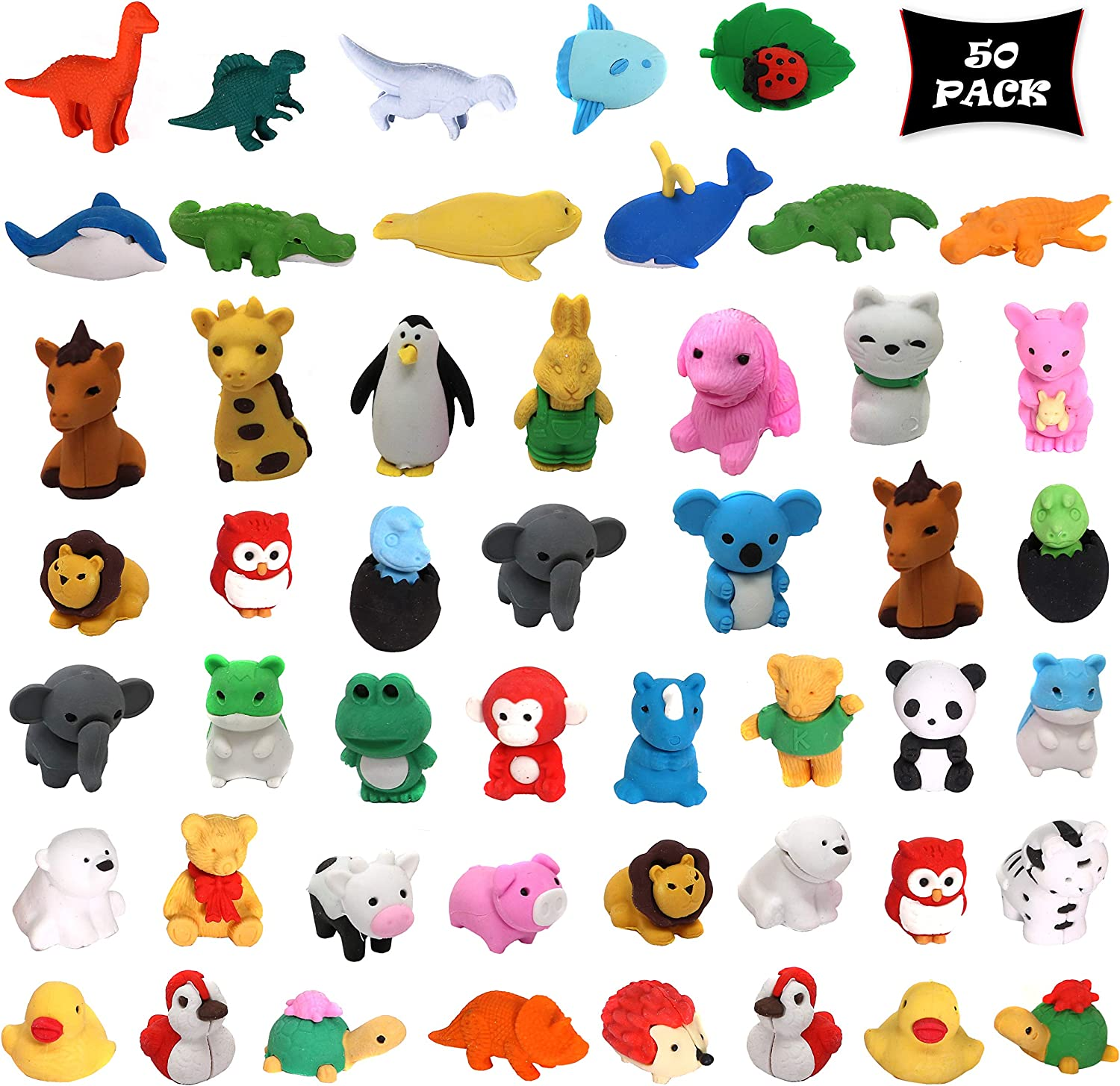 smart novelty animal erasers for kids party favors classroom rewards and prizes animal puzzle eraser assortment bulk pack of 50 erasers
