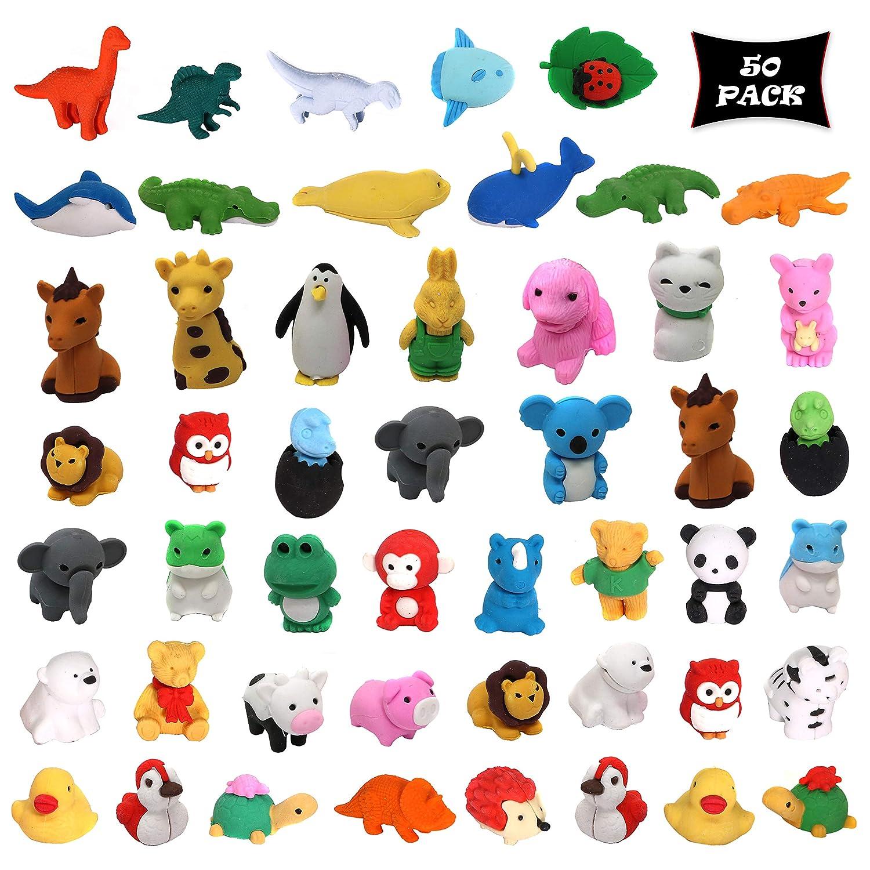 Bulk Pack Of 50 Erasers Animal Puzzle Eraser Assortment Smart Novelty Animal Erasers Kids Party Favors Classroom Rewards Prizes