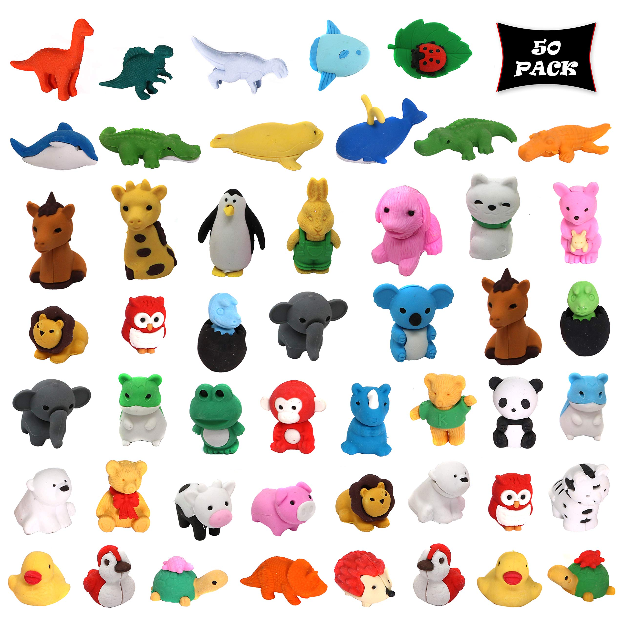 Smart Novelty Animal Erasers Kids Party Favors Classroom Rewards Prizes - Animal Puzzle Eraser Assortment - Bulk Pack Of 50 Erasers