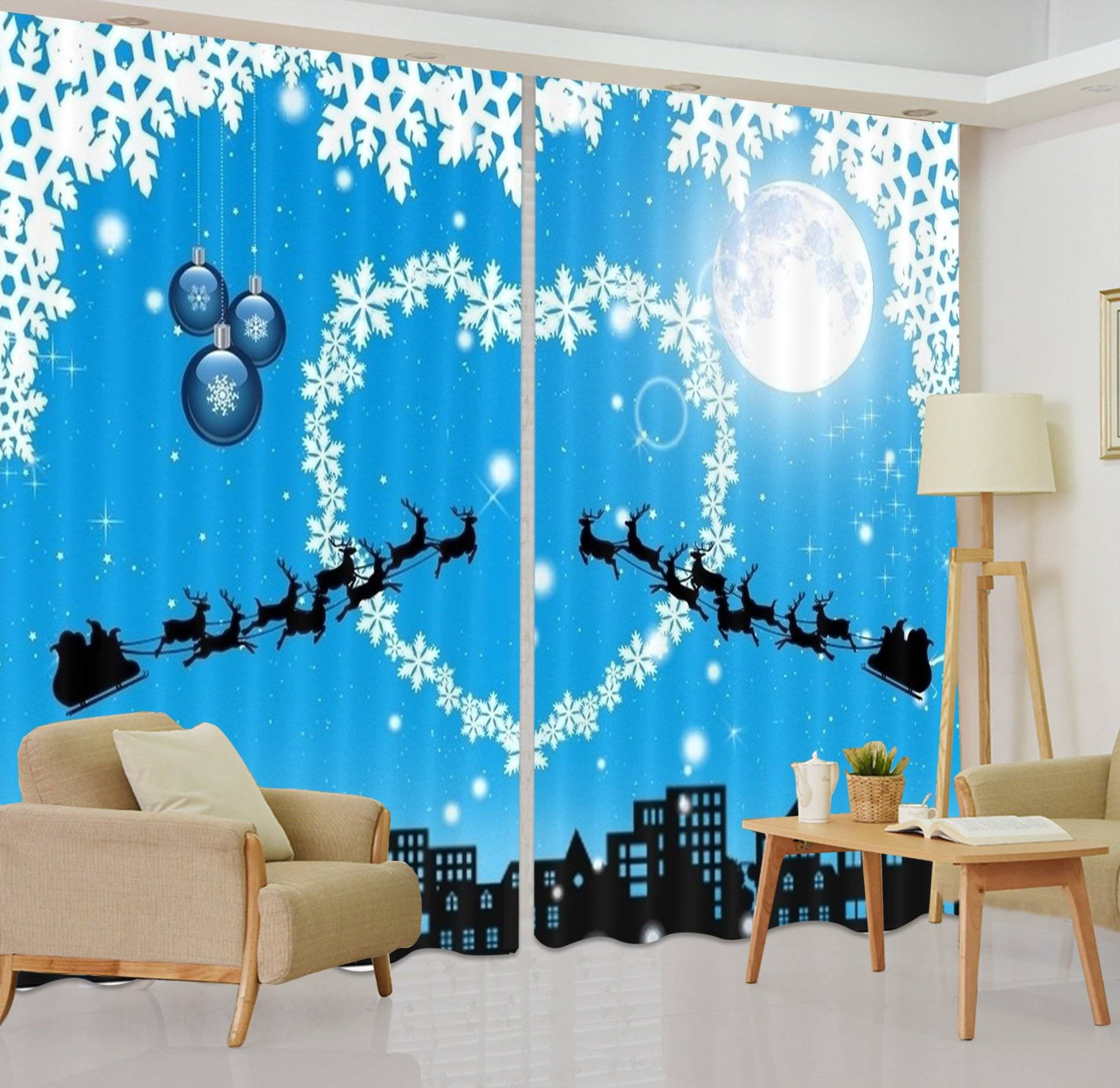 LB Christmas Decorations Blackout Curtains for Kids Room,Christmas Night 3D Effect Print Window Treatment Living Room Bedroom Scenery Window Drapes 2 Panels Set,118W x 108L Inches