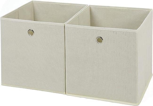 SONGMICS Juego de 2 Cajas de Almacenaje, Cubos de Tela Plegables, 30 x 30 x 30 cm, Beige RFB02M: Amazon.es: Hogar