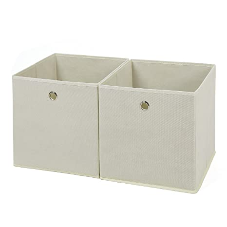 SONGMICS Juego de 2 Cajas de almacenaje Cubos de Tela Plegable 30 x 30 x 30