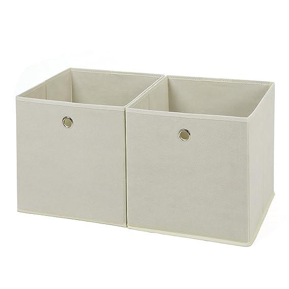 SONGMICS Juego de 2 Cajas de almacenaje Cubos de Tela Plegable 30 x 30 x 30 cm Beige RFB02M: Amazon.es: Hogar