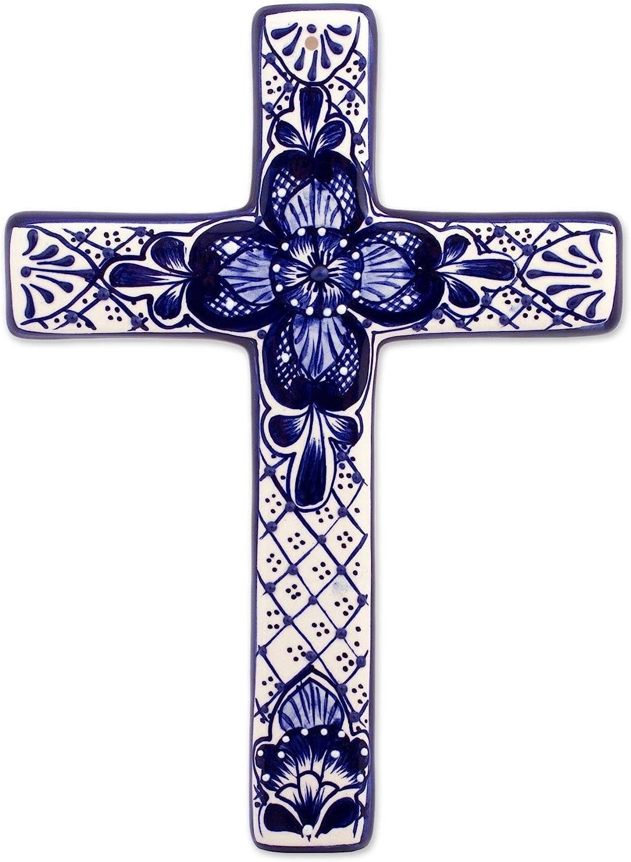 NOVICA Blue and White Hand Painted Talavera Ceramic Floral Wall Cross, Talavera Flower'