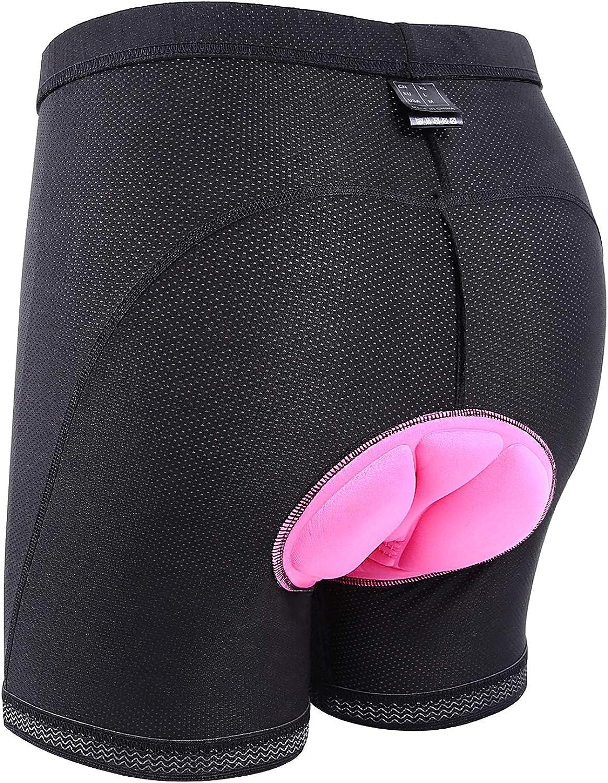 Sportneer 3D Padded Bike Underwear for Women Cycling Bicycle Biking Breathable & Lightweight (Large, Black)