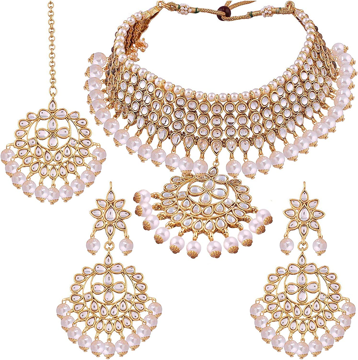 Aheli Indian Bollywood Bridal Choker Necklace Earring Maang Tikka Traditional Jewelry Set