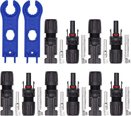 ECO-WORTHY 5 Pairs MC4 Connector Male//Female Solar Panel Cable Connectors