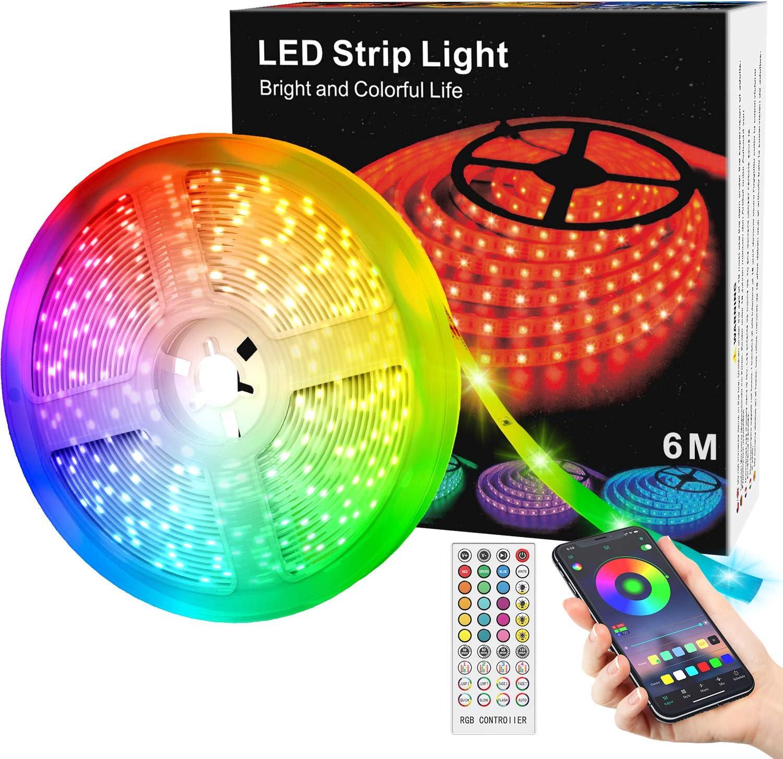 Tiras LED de 6M con Controlador Bluetooth, Sincronización Musical, Cambio de Color, Control Remoto de 40 Teclas, Micrófono Incorporado, Luz LED RGB 5050 Controlada por Teléfono, Impermeables