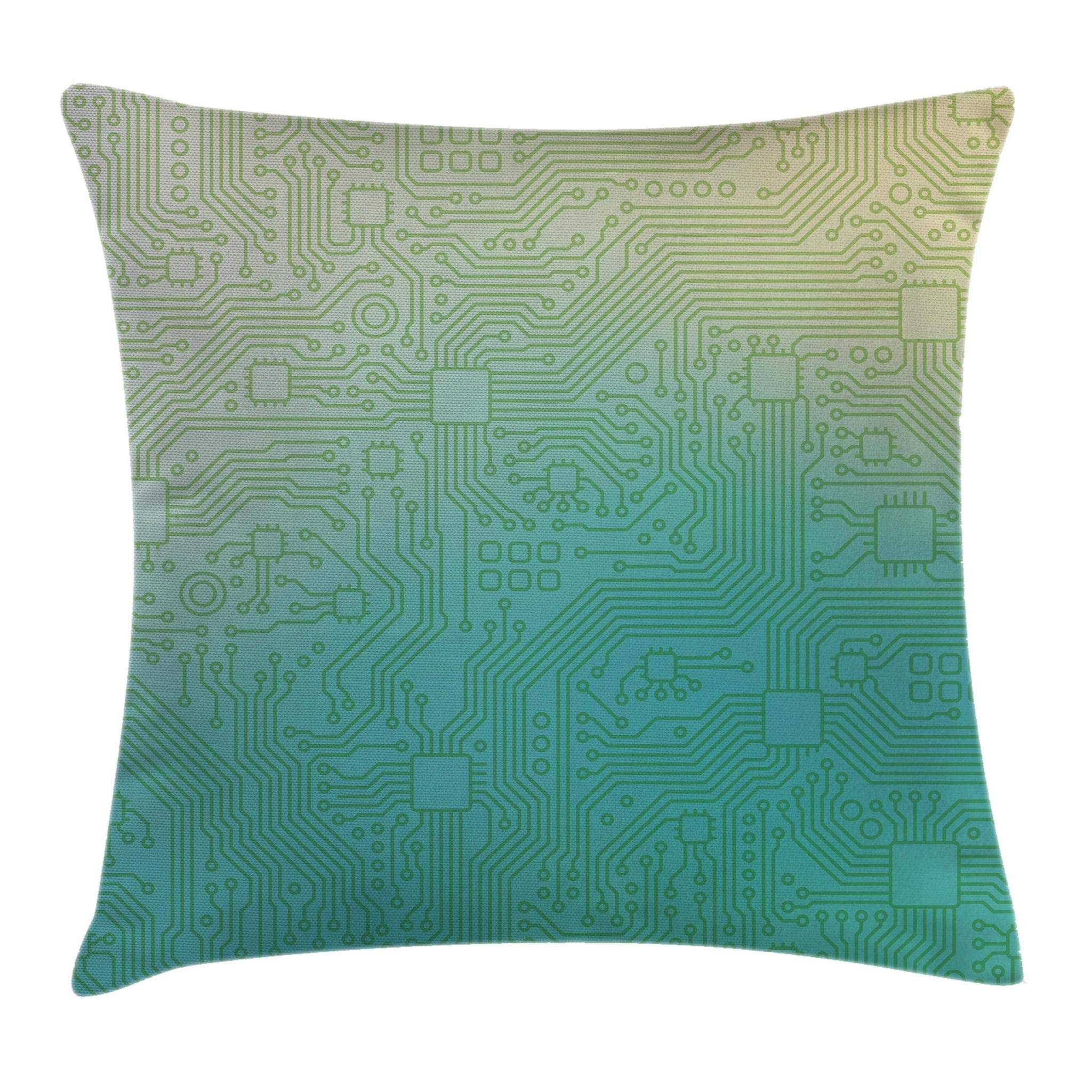 Ambesonne Abstract Decor Throw Pillow Cushion Cover, Technology Pattern Motherboard Image Background Vector Graphics, Decorative Square Accent Pillow Case, 16 X 16 Inches, Jade Green Pale Green