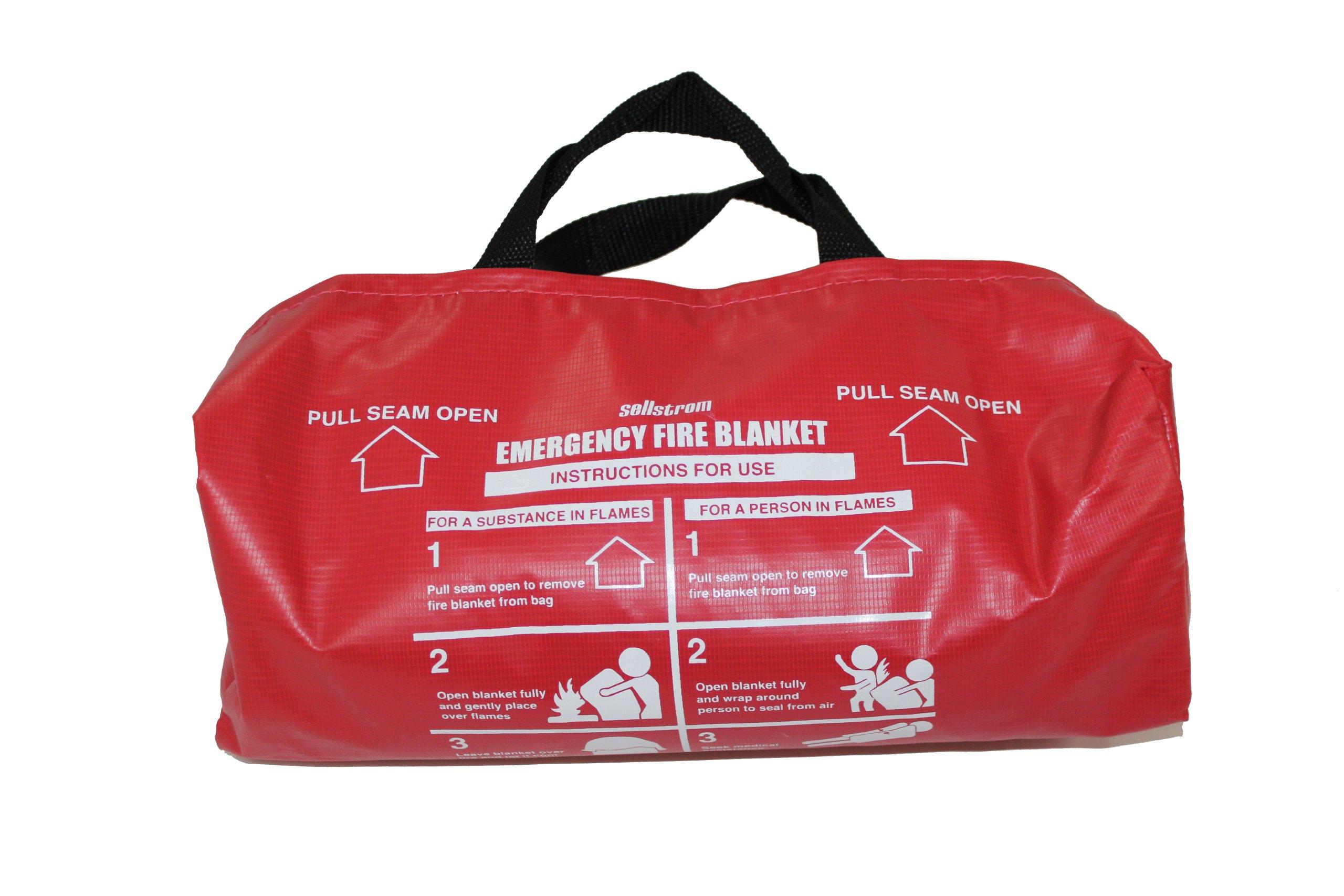 Sellstrom S97452 Fiberglass, Emergency High Temperature Fire Blanket (1,000 Deg F) with Small Red Vinyl Handle Bag, 6' Length x 5' Width, White